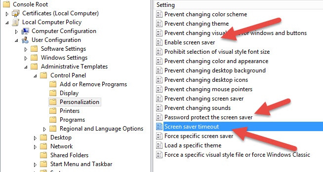 How to set screen saver lock screen local policy on a non domain ...